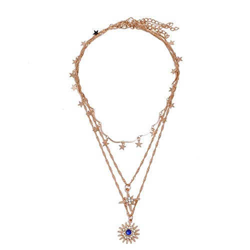 Bohemian Necklace with Sun Star Pendant Star Tassel Pendant Clavicle Chain for Women and Girls