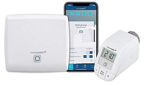 Homematic IP Access Point - Smart Home Gateway mit kostenloser App und Sprachsteuerung über Amazon Alexa + 1x Heizkörperthermostat – basic, Push-To-Pair