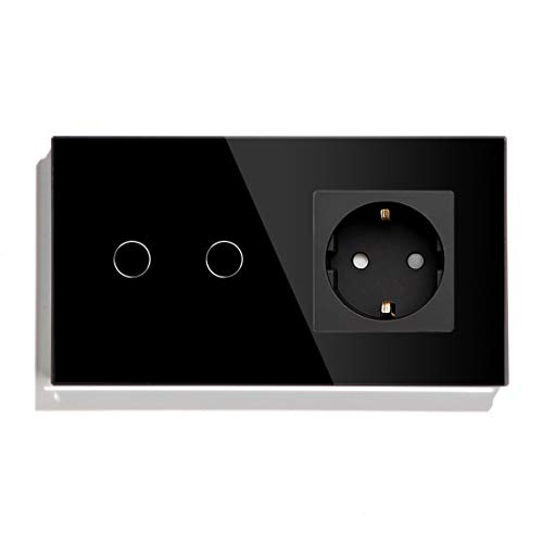 BSEED Interruptor de luz táctil con enchufe, 2 Gang, 1 vía, interruptor táctil para lámpara de pared con enchufe Schuko, interruptor de luz de cristal, enchufe negro