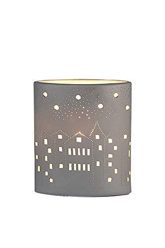 GILDE Lampe Ellipse City - Porzellan - Lochmuster im Prickellook grau H 20 cm