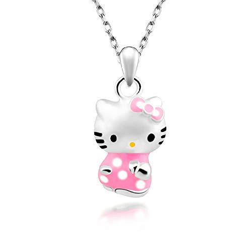 Cartoon Cat Anhänger Hellokitty Comic Cat Anhänger Kurze Schlüsselbein Kette Kt Cat Silber Halskette