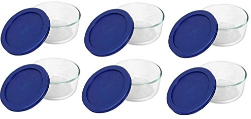 Pyrex Storage 2-Cup Round Dish, Clear with Blue Lid Case of 6 Containers by Pyrex