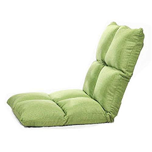 Tyueliang-Home Lounge Sofa Verstellbare Bodenstuhl Rückenstütze Gepolsterte Faltbare Sitzsitz Tatami Einzel Sofa für Kinder (Color : Green, Size : 110 * 52 * 10cm)