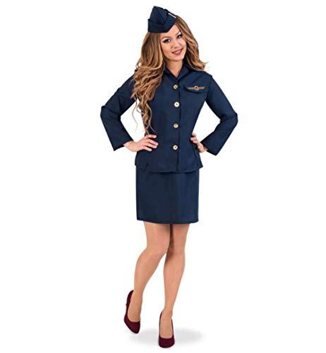 KarnevalsTeufel Damenkostüm Stewardess 3-teilig Rock und Oberteil mit Schiffchen in dunkelblau Flugbegleiterin Verkleidung (38)