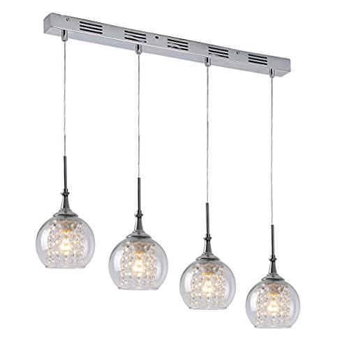 Esszimmerlampe Pendelleuchte Modern K9 Kristall Esstisch Hängelampe (verstellbar) 4-flammig x E27 max. 60 Watt, Klarglas Glaskugel Lüster Chrom Silberfarben Pendellampe Küchenlampe Wohnzimmerlampe