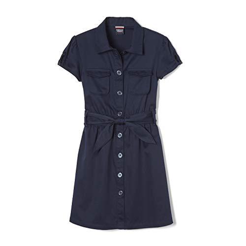 French Toast Little Girls' Twill Safari Shirtdress, Navy, 6