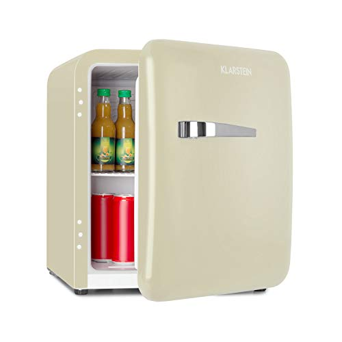 Klarstein Audrey Mini nevera retro - Mininevera, Nevera para bebidas, Eficiencia energética de tipo A+, 48 litros de capacidad, 2 plantas, Temperaturas de 0-10 °C, Zona de botellas, Crema