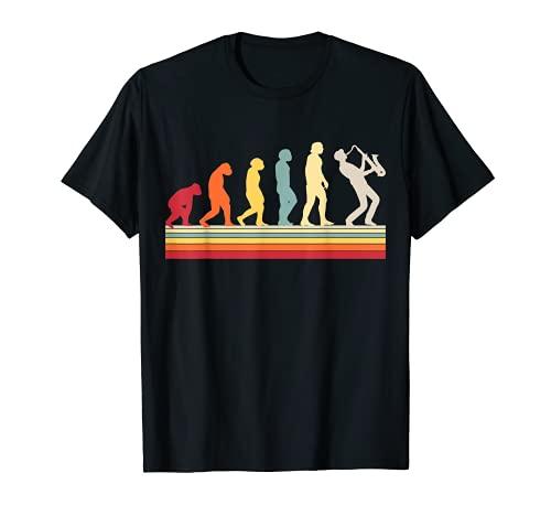 Evolución del hombre Saxofón Música Retro Vintage Camiseta
