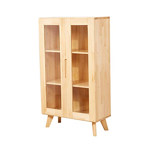LVZAIXI wandrek voor kinderen van massief hout met glazen deur, houtkleur 70 x 106 x 32 cm (kleur: B)