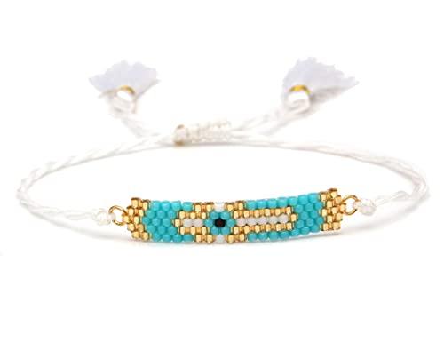 DUKAILIN Pulsera de personalidad con borla hecha a mano para mujer, ojo griego bohemio, hermoso trenzado de joyería de regalo rodiumplated