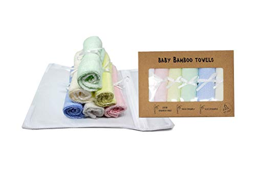Worlds Best Baby Bamboo Washcloths Towels & Laundry Bag Set - 2 Layers of Ultra Luxury Soft Absorbent Bamboo Towel - Newborn Bath & Face Towel - Natural Reusable Baby Wipes for Sensitive Skin (Multi)