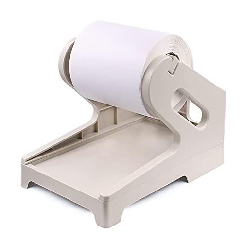 Aibecy Portaetiquetas de envío para rollos y etiquetas apiladas plegables en abanico Soporte de soporte de papel Soporte para trabajo con impresora térmica de etiquetas de envío de escritorio