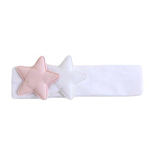 Demarkt Baby haarband hoofdband haarstrik van katoen roze Medium wit