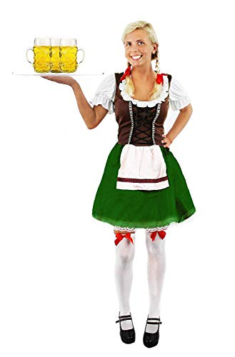 I LOVE FANCY DRESS LTD Signore Marrone & Verde Bavarese Costume da Donna Birra Maiden Maid Oktoberfest Tedesco Stagg E Addio al Corteo Sera Birra Festival Vestito – Grande EU 44/46