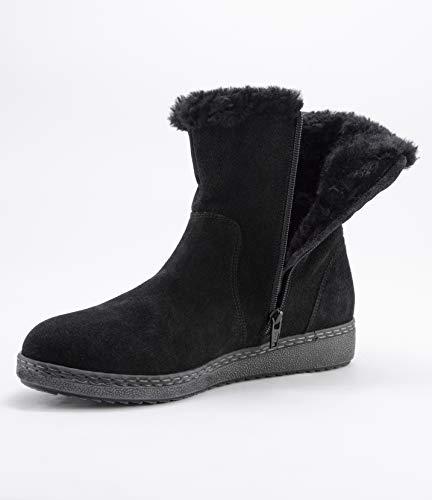 LATRANS Damskie czarne zamszowe botki zimowe, płaskie, zapinane na zamek błyskawiczny, wodoodporne, ciepłe buty zimowe, czarny - czarny - 41/43 EU
