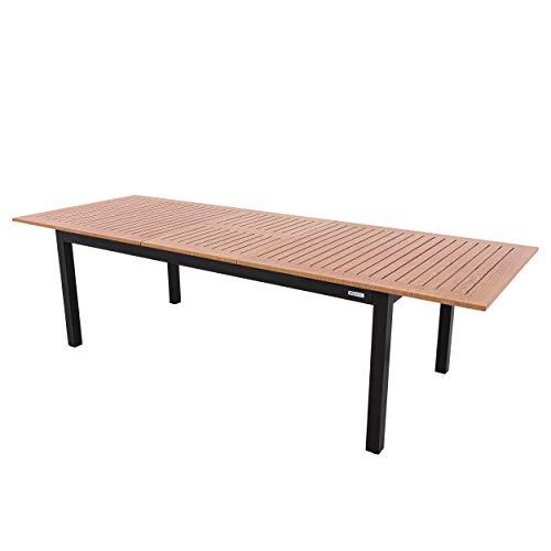 DOPPLER Expert Esstisch, anthrazit/Holzoptik, Aluminium , 220-280x100 cm, ausziehbar