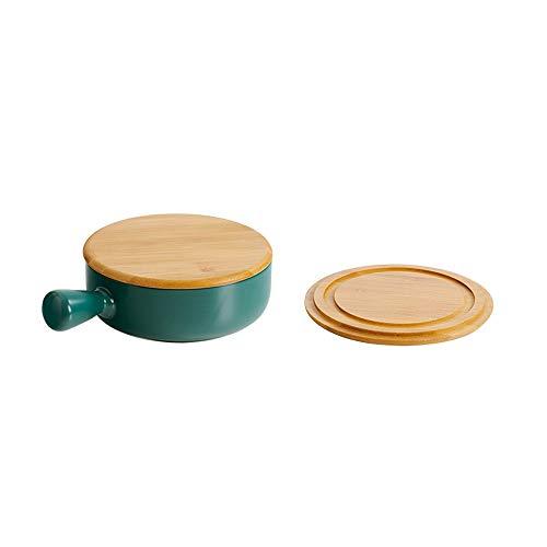 ZLSP Vajilla de cerámica única del hogar, ensalada de color sólido cuenco Plate Set de cubiertos ZLSP (Color : Green)