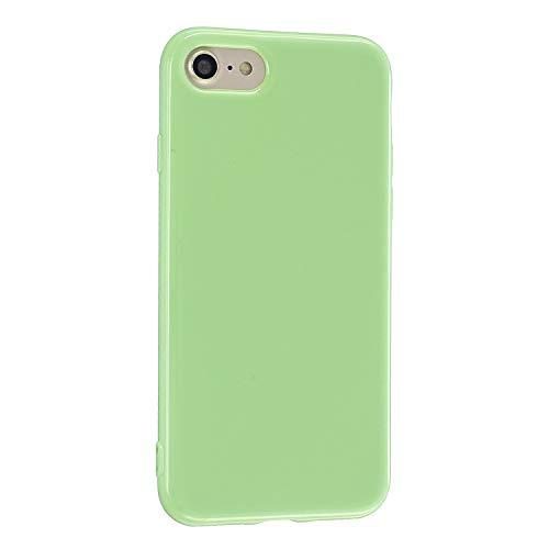 CrazyLemon Hülle für iPhone 6 Plus iPhone 6S Plus, Niedlich Volltonfarbe Gelee Weich TPU Silikon Slim Dünn Handyhülle Stoßfest Schutzhülle - Hellgrün