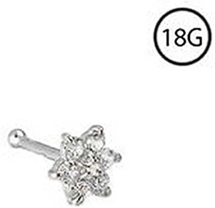 14KT White Gold Bioflex Nose Screw Ring Stud 1.5m 2mm 2.5mm 3mm CZ 18 Gauge 18G