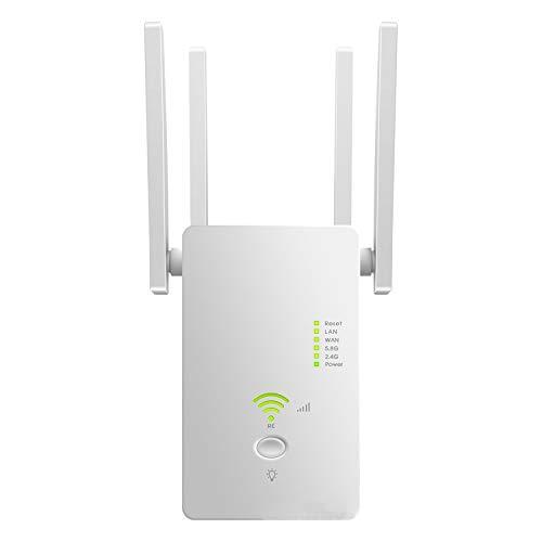 Bnwoinb Repetidor WiFi Amplificador de SeeAl Enrutador InaláMbrico 1200M Extensor de Red 2.4/5.8G WiFi 2 Puertos (Enchufe de la UE)