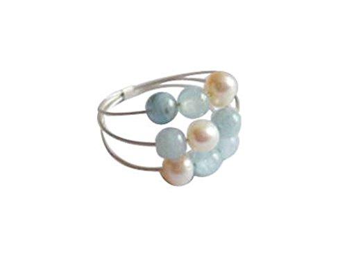 Gemshine - Damen - Ring - 925 Silber - Aquamarin - Perlen - Blau - Weiß, Ringgröße:54 (17.2)