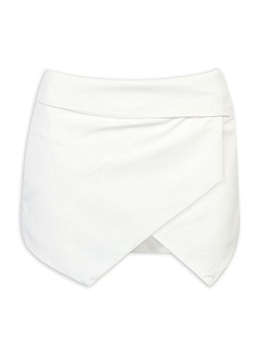 CHARLES RICHARDS Women's Asymetric Hem Tulip Plain Mid Waist Skorts Mini Skirt Shorts White