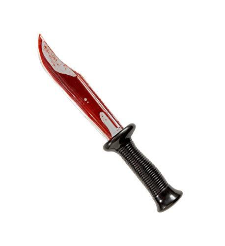 Luxuspiraten - Lange blutverschmierte Messer Attrappe für Sensemann, Voodoo Priester und Psycho Kostüme, 30cm, perfekt für Jede Halloween und Karnevals Party, Silber