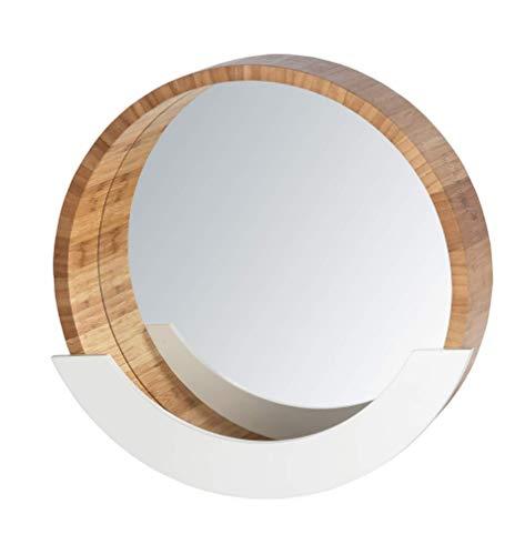 WENKO Wandspiegel Finja mit Ablage - Kosmetikspiegel, Dekospiegel, Spiegelfläche ø 35 cm, Bambus, 39 x 38 x 9.5 cm, Braun