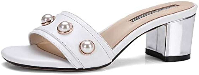 IWlxz Women's Nappa Leather Spring Sandals Chunky Heel White Almond