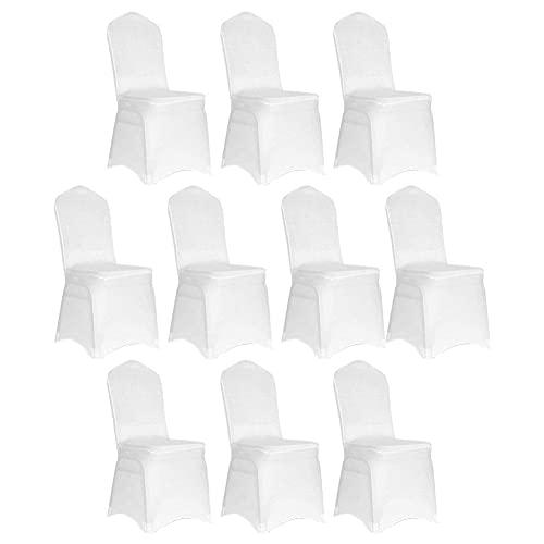 Liadance Spandex Blanco Cubierta de Silla Tela Estirado Rápido Lavable Descubridor Protector para Bodas Ceremonia Ceremonia Hotel Decoración decoración, 10pcs