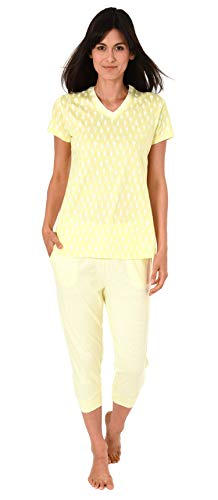 Normann Damen Capri-Pyjama Kurzarm mit Ananas als Motiv, Coole Optik - 191 204 90 216, Farbe:gelb, Größe2:40/42