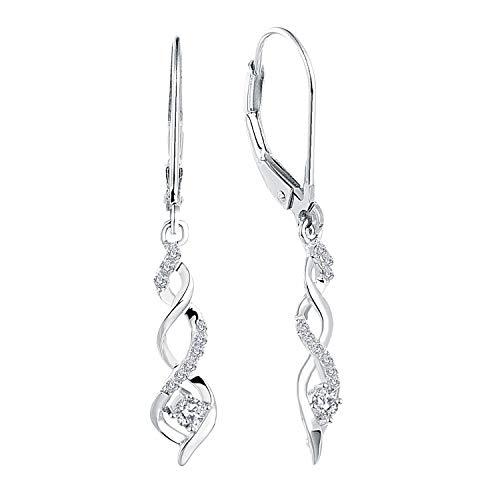 JO WISDOM Damen hängende ohrringe Unendlichkeit infinity silber 925 mit AAA Zirkonia Kristall (Zirkonia farblos)
