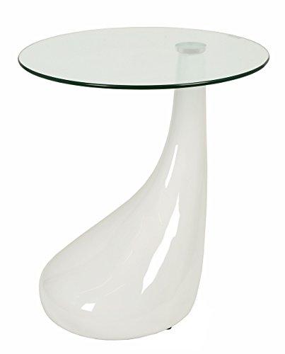 Table en Verre Design Table d'appoint Table Basse en Blanc avec Pied de Forme Tropicale et Verre de sécurité ESG de 8 mm