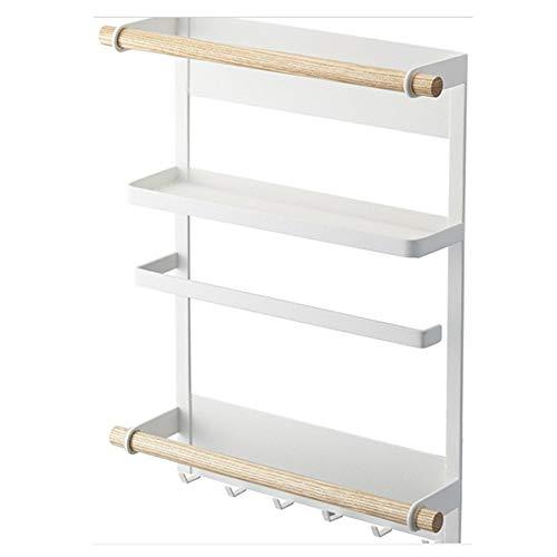 CULASIGN Kühlschrank Regal 3 Tier Magnet Gewürzregal Papierhandtuchhalter-Spender Küchen Organizer Veranstalter Mehrzweckablage mit 3 Haken (Weiß)