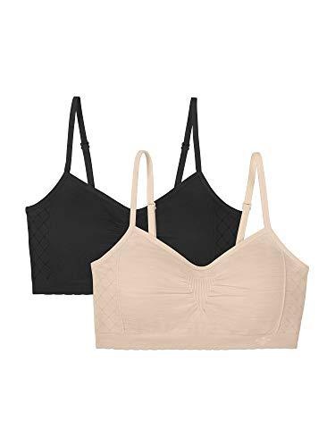 Vanity Fair Women's Beyond Comfort Seamless Padded Bralette, 2 Pack-Black/Beige, Large-X-Large