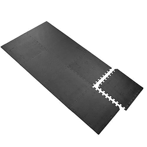 Bodenschutzmatte schwarz 50x50x1 cm 8 teilig - 2 m² - mit Rand - EVA - Fitness Sportmatte Trainingsmatte - Unterlage Schutz Stecksystem Puzzelmatte Pool Bodenschutz Poolmatte Bodenmatte Swimmingpool
