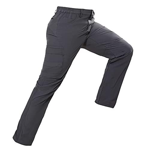 Hiauspor Pantaloni da trekking, da uomo, leggeri, elasticizzati, per lo sport, il tempo libero, estivi, per attività all'aperto, campeggio, arrampicata su roccia, casual, grigio., XXL