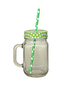 Glas Becher mit Strohhalm und Deckel 420ml–Metall Schraube auf Deckel mit Silikondichtung und wiederverwendbarer Strohhalm–Glas Griff wie ein Mason Jar–geeignet für Smoothies & Fruits Saft