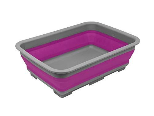 Ram® Faltbare Spülschüssel – tragbares 10 Liter Wasser-Aufbewahrungsbecken ideal für Camping, Wohnwagen, Outdoor-Aktivitäten, Küche und mehr – Violett