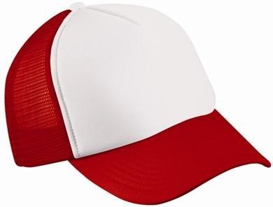 Trucker Mesh Baseball Cap in Polyester- oder Baumwolle in 35 Farben, einfarbig und zweifarbig PF Weiss- Rot