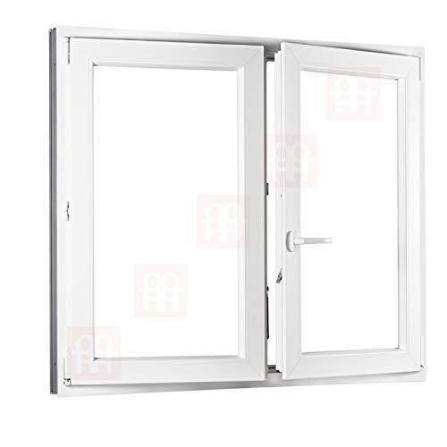Kunststofffenster   140x110 cm (1400 x 1100 mm)   weiß   Zweiflügelige ohne Pfosten   rechts