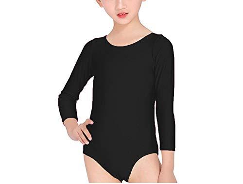Carnavalife Maillot Ballet Danza Niña de Manga Larga y Cuello Redondo (Negro, 6 años)