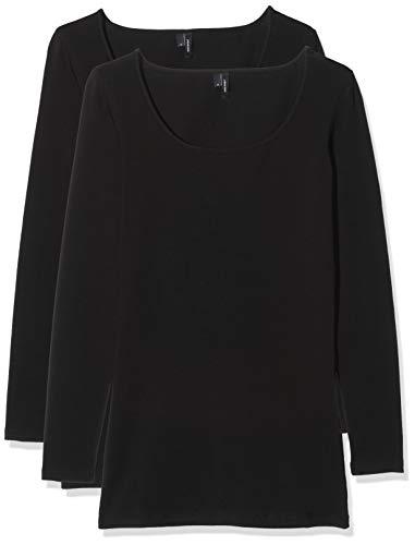 VERO MODA Damen Vmmaxi My Ls Soft Long U-Neck Ga 2Pack Langarmshirt, Schwarz (Black Pack: Black), 34 (Herstellergröße: XS) (2er