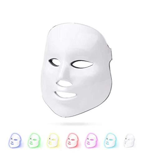 SMAA Fotones Tratamiento del acné Facial,7 Colores de luz LED Máscara Uso en el hogar Máquina rejuvenecimiento la Piel Anti-envejecimiento la Piel Cuidado Diario Máscara el Uso del salón Dispositivos