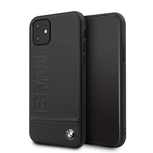 BMW Hard Case Signature Imprint Logo aus schwarzem Leder für Apple iPhone 11