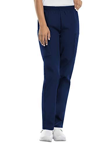 CHEROKEE Women's Workwear Elastic Waist Cargo Scrubs Pant, Navy, Large-Petite
