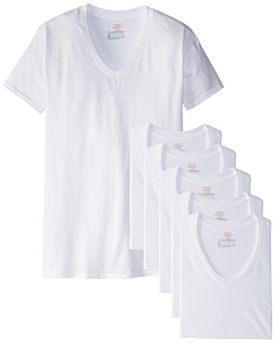 Hanes Men's 6-Pack FreshIQ V-Neck T-Shirt, White, Large