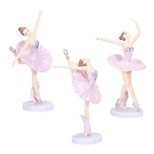 WINOMO 3 figuras en miniatura de bailarina para tarta de figuras de ballet, ideales para la decoración artesanal de la casa de las muñecas, decoración de tartas, escenas de