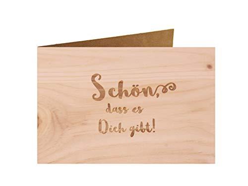 Holzgrußkarte - Schön dass es Dich gibt - 100% handmade in Österreich - Postkarte, Geschenkkarte, Grußkarte, Klappkarte, Karte, Einladung, Glückwunschkarte