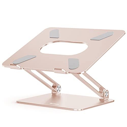BoYata ノートパソコンスタンド ノートpc スタンド タブレットスタンド 高さ/角度調整可能 姿勢改善 腰痛/猫背解消 折りたたみ式 パソコン スタンド 滑り止め アルミ合金製 ノートPC/ タブレットなど17インチまでに対応 シャンパンゴールド